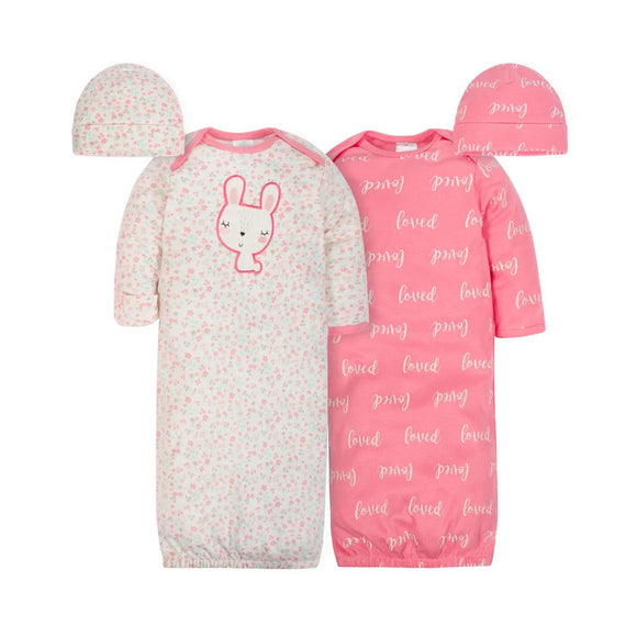 Gerber Girls 4-pc Sleeping Gowns & Hats set, Floral/ Bunny (100% organic)