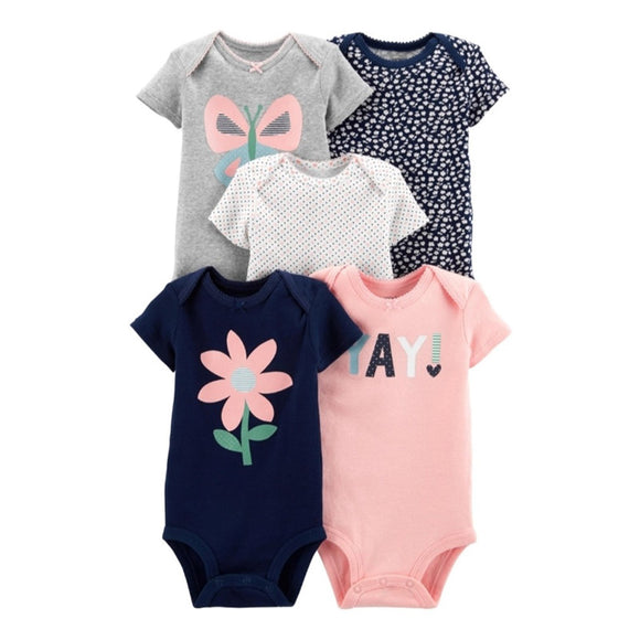 Carter's Girls 5-pk Bodysuit set, Floral / Butterflies