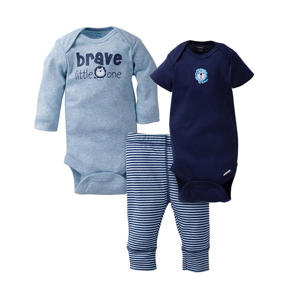Gerber Boys 3-pc Onesies & Long Pant set, Brave/ Lion