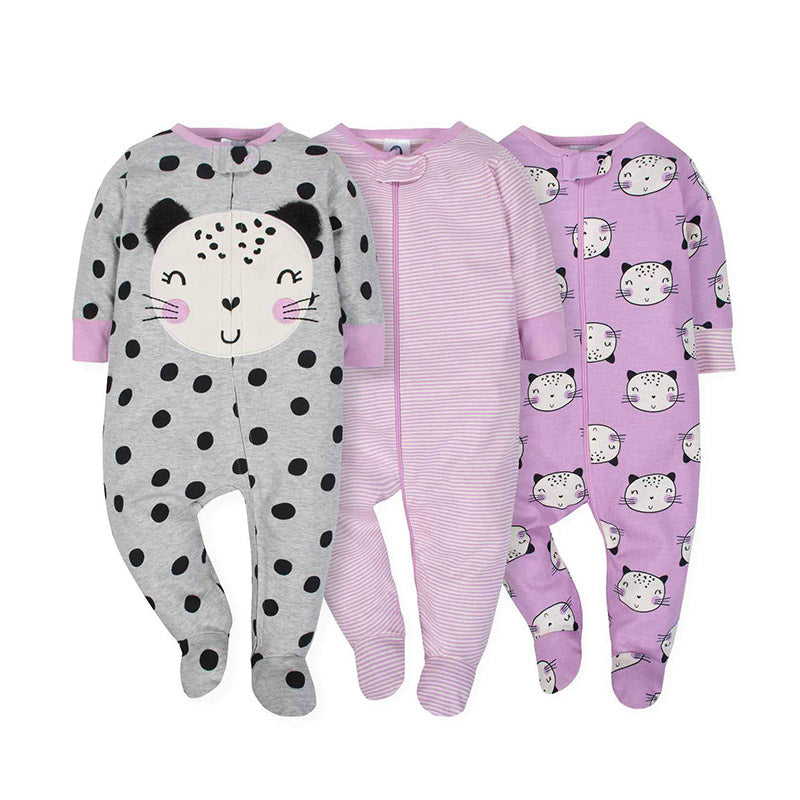 Gerber Girls 3-Pack Girls Sleep & Play, Purple/ Kitty