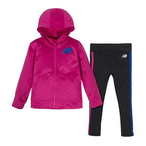 New Balance Girls 2-pc Fleece Hooded Jacket and Tight Set, Pink/ Black