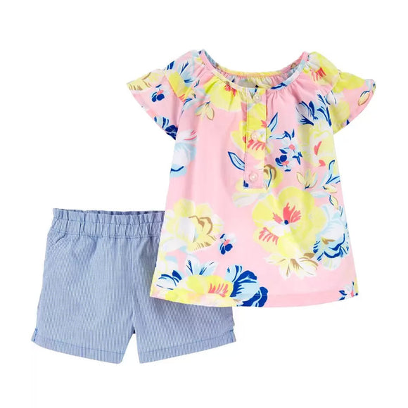 Carter's Girls 2-pc Poplin Top & Striped Short Set, Floral