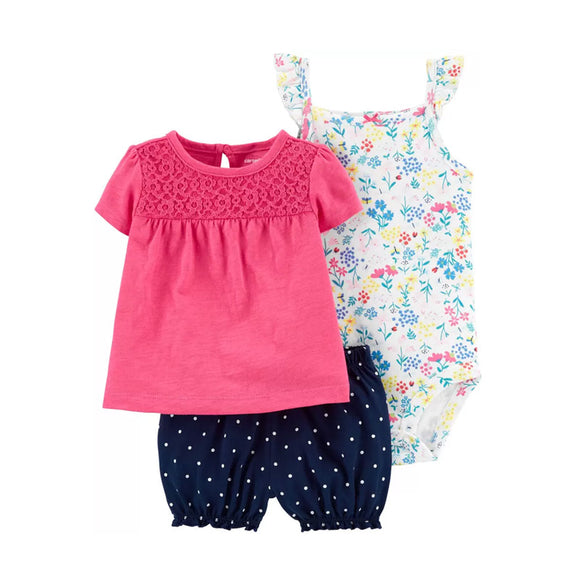 Carter's Girls 3-pc Swing Top, Bodysuit & Bubble Pant set, Floral/ Pink/ Navy