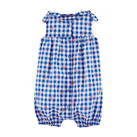 Carter's Girls Bubble Romper, Floral/ Blue Gingham