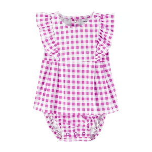 Carter's Girls Ruffle Gingham Jersey Sunsuit, Purple