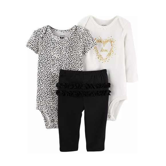 Carter's Girls 3-pc Bodysuit & Pant set, Leopard / Hearts