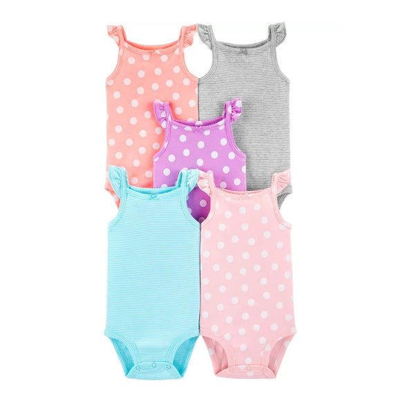 Carter's Girls 5-pk Flutter Sleeve Tank Bodysuit set, Mixed Colors