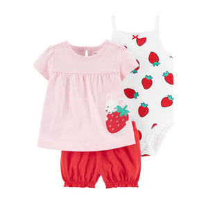 Carter's Girls 3-pc Swing Top, Sleeveless Bodysuit & Bubble Pant set, Strawberry