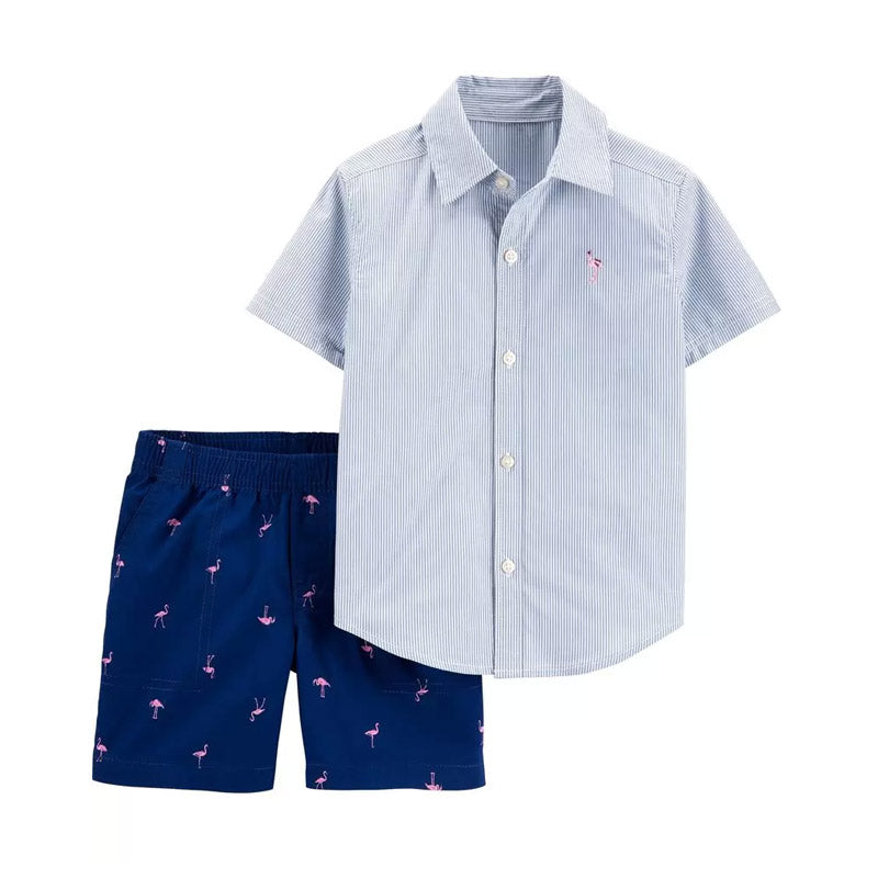 Carter's Boys 2-pc Button-Front Shirt & Short Set, Stripes/ Flamingo