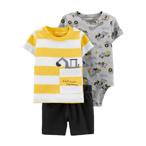 Carter's Boys 3-pc T-shirt, Bodysuit & Short Pant set, Yellow / Construction