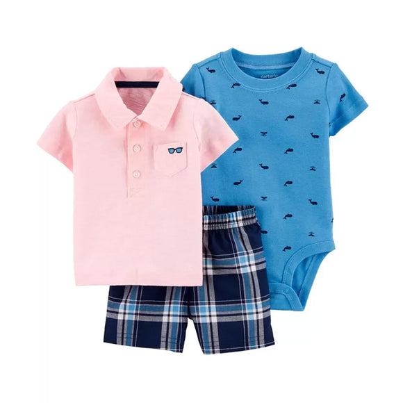 Carter's Boys 3-pc Polo Shirt, Bodysuit & Short Pant, Blue / Pink / Plaid
