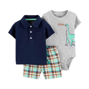 Carter's Boys 3-pc Polo Shirt, Bodysuit & Short Pant set, Dino / Navy / Plaid