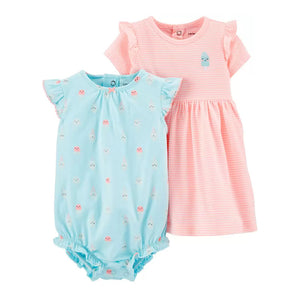 Carter's Girls 2-pc Dress & Romper Set, Ice Cream / Neon