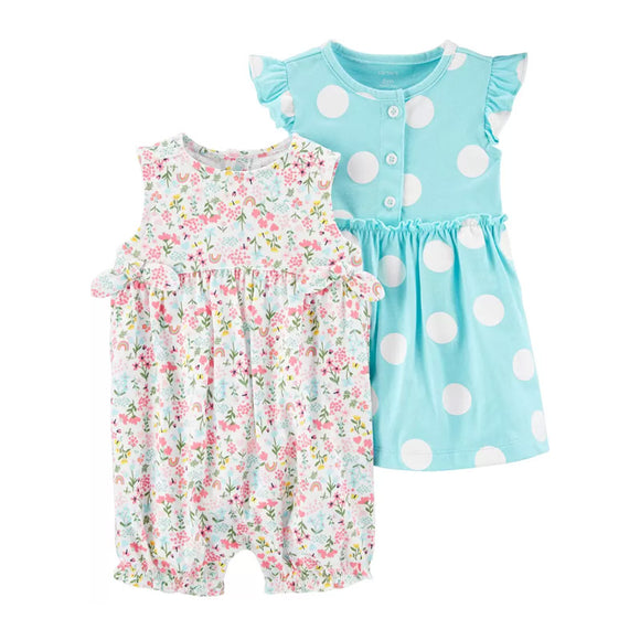 Carter's Girls 2-pc Dress & Romper Set, Floral / Blue Polka Dots