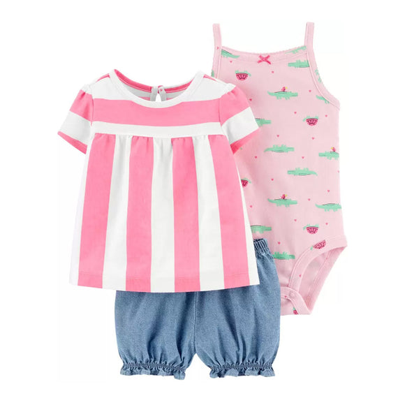 Carter's Girls 3-pc Swing Top, Sleeveless Bodysuit & Bubble Pant set, Pink / Blue