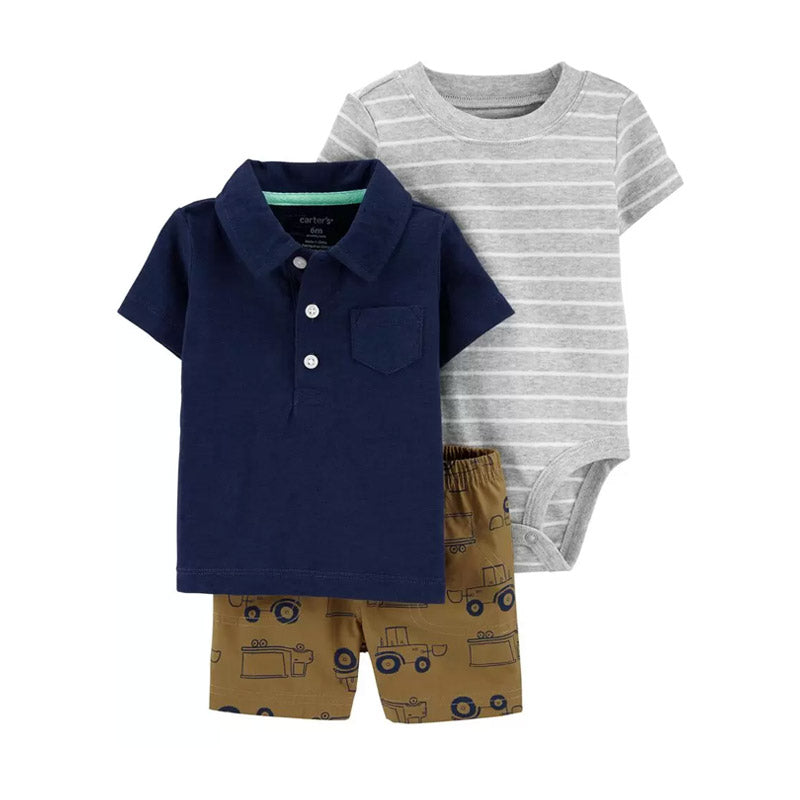 Carter's Boys 3-pc Polo Shirt, Bodysuit & Short set, Navy / Khaki