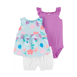 Carter's Girls 3-pc Swing Top, Flutter Sleeve Bodysuit & Bubble Pant set, Purple / Floral
