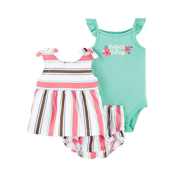 Carter's Girls 3-pc Swing Top, Flutter Sleeve Bodysuit & Pant set, Beach Vibes