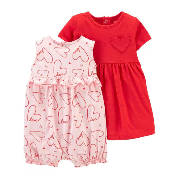 Carter's Girls 2-pc Dress & Romper Set, Red / Pink / Hearts