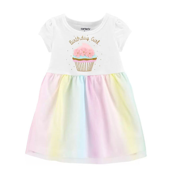 Carter's Girls Glitter Birthday Girl Tutu Jersey Dress, Birthday Girl