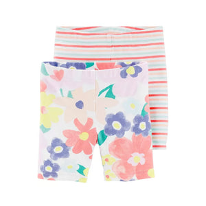 Carter's Girls 2-pk Playground Shorts set, Floral / Stripes
