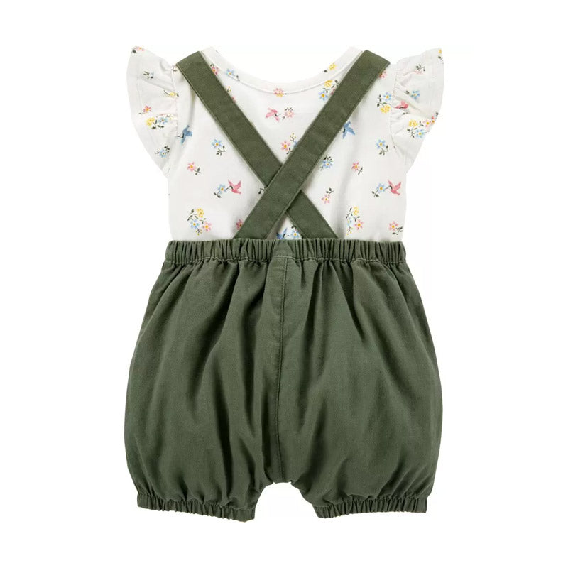 Carter's Girls 2-pc Floral Bodysuit & Shortall Set, Olive / Floral