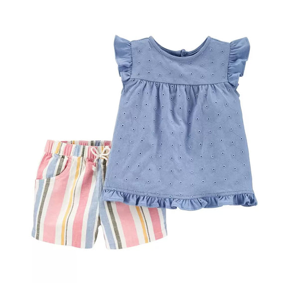 Carter's Girls 2-pc Chambray Top & Linen Short Set