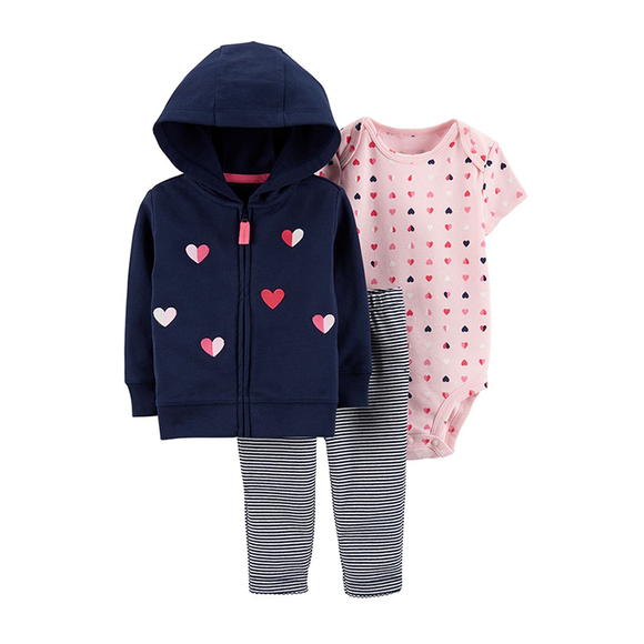 Carter's Girls 3-pc Hooded Jacket, Bodysuit & Long Pant set, Navy / Pink / Hearts