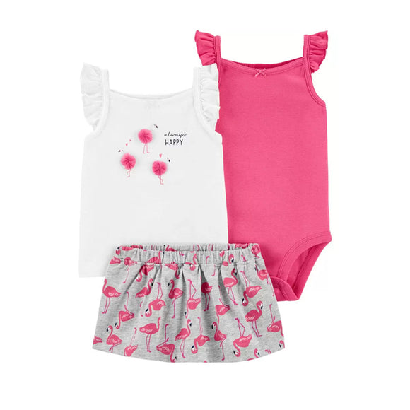 Carter's Girls 3-pc Flutter Tee, Flutter Sleeve Bodysuit & Skort Set, Flamingo