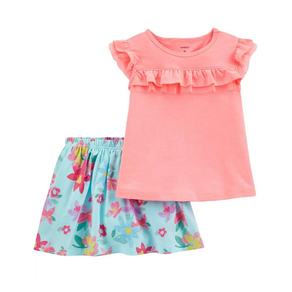 Carter's Girls 2-pc Tulle-Trim Flutter Top & Floral Skort Set