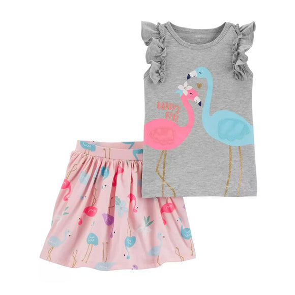 Carter's Girls 2-pc Flutter Tee & Skort Set, Flamingo