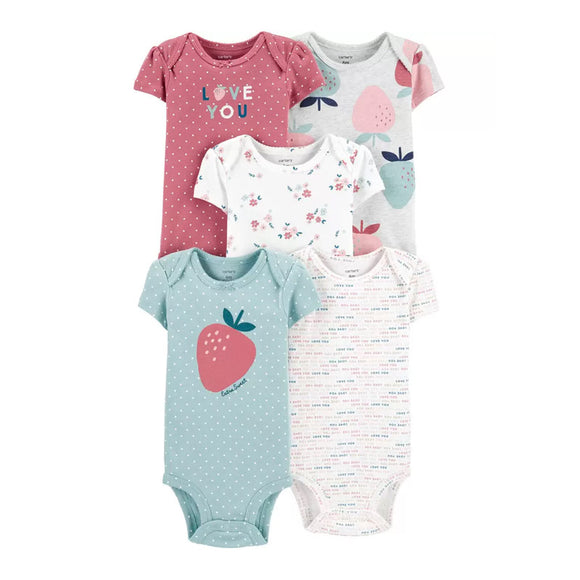 Carter's Girls 5-pk Bodysuits set, Strawberry / Love