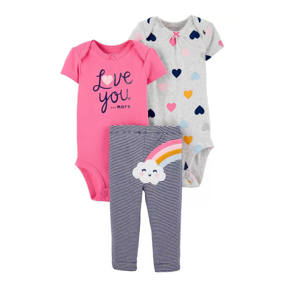 Carter's Girls  3-pc Bodysuit & Pant Set, Rainbow
