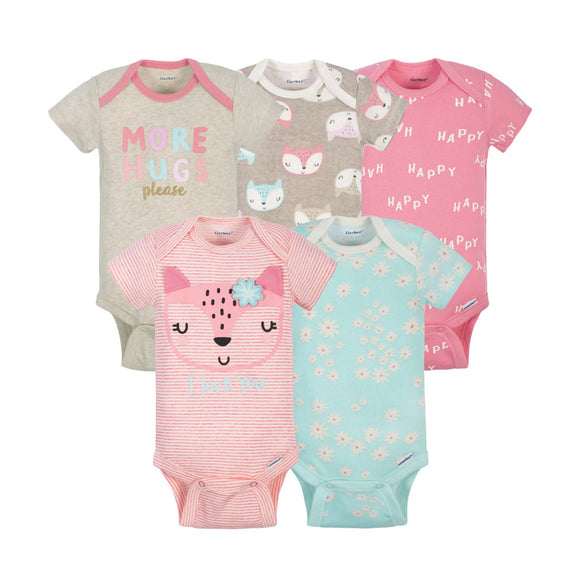 Gerber Girls 5-pk Onesies set, Fox