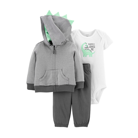 Carter's Boys 3-pc Hooded Jacket, Bodysuit & Long Pant, Dino
