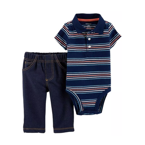 Carter's Boys 2-pc Polo Style Bodysuit & Jeans set, Navy/Stripes