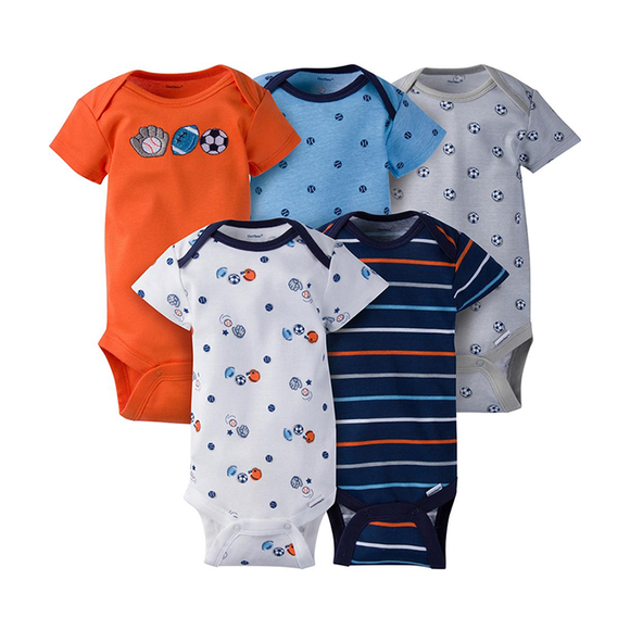 Gerber Boys 5-pk Onesies set, Orange / Sports