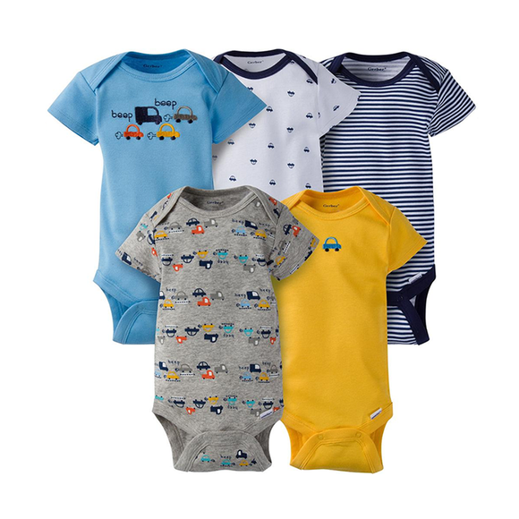 Gerber Boys 5-pk Onesies set, Transportation