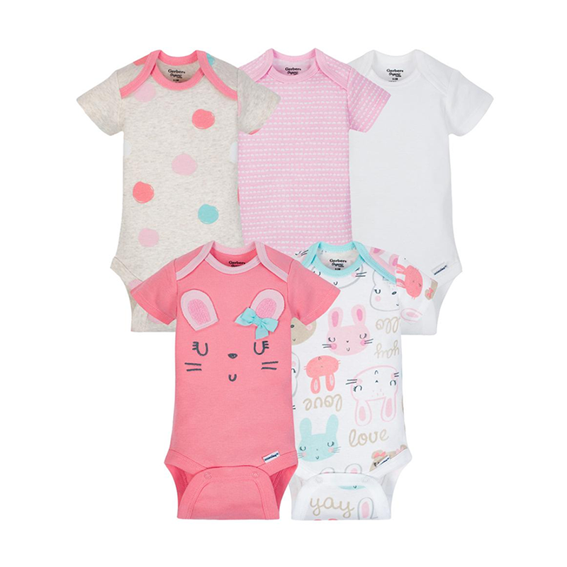 Gerber Girls 5-pk Onesies set, Bunny (100% organic cotton)