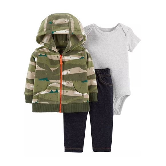 Carter's Boys 3-pc Hooded Jacket, Bodysuit & Jeans set, Camo