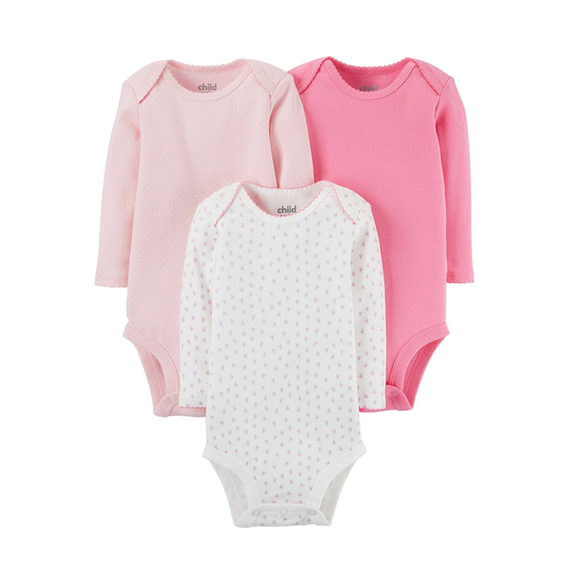 Child of Mine Girls 3-pk Long Sleeve Bodysuit set, Pink/ Floral