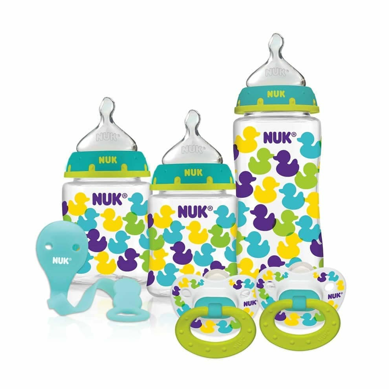NUK Fashion Orthodontic Bottle & Pacifier Gift Set, Ducks