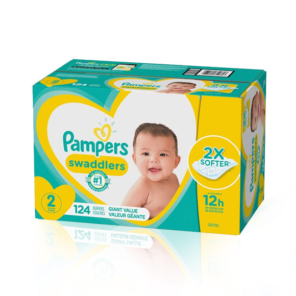 Pampers Swaddlers Disposable Baby Diapers, Giant Pack (Size 2 / 124 count)