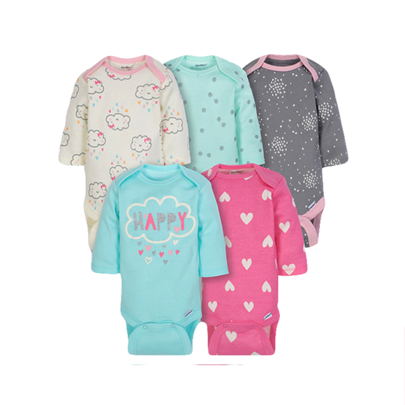 Gerber Girls 5-pk Long Sleeve Onesies set - Happy