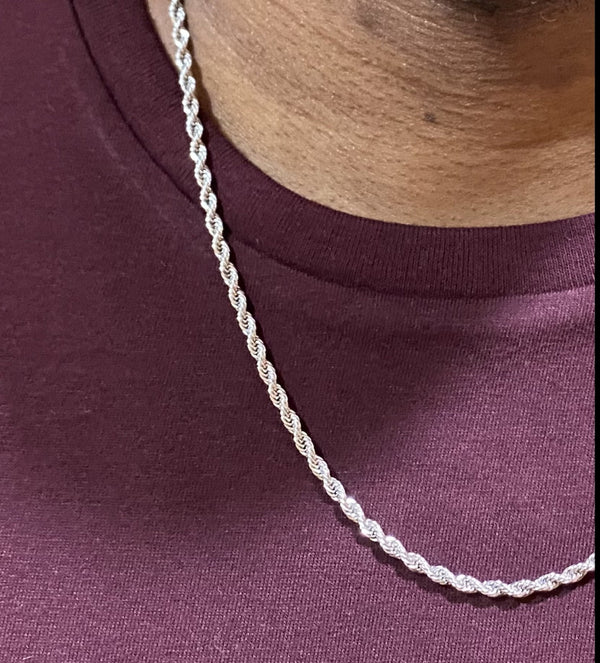 SILVER CUBAN CHAIN 4MM