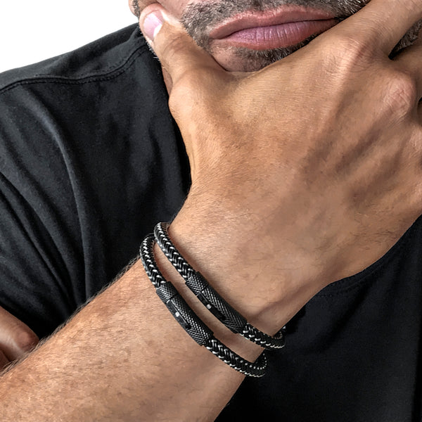 BLACK INFINITI DOUBLE STACK BRACELET