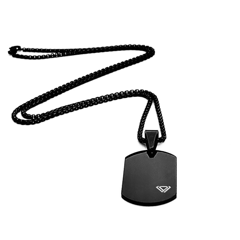 MINIMAL ID TAG NECKLACE IN BLACK