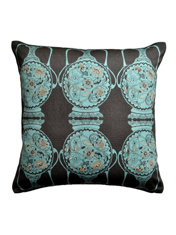 Filigree Pots Cushion - Aquamarine