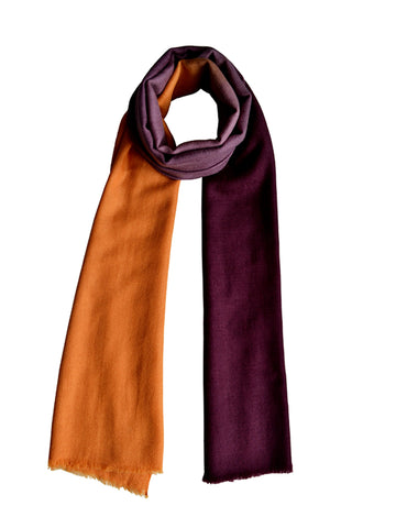 Cashmere Scarf : Aubergine & Honey Ombre