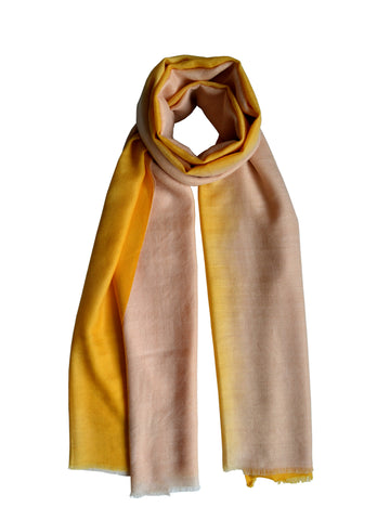 Cashmere Scarf : Ivory & Sunglow Ombre